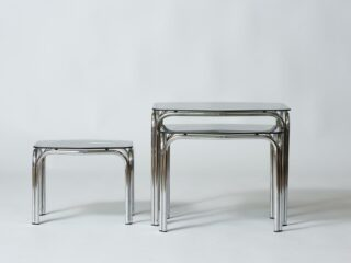 Smoked glass nesting tables - 1970's